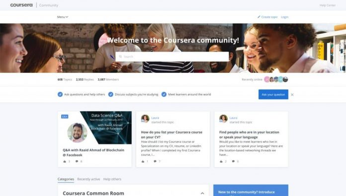 The Coursera Community, a New Discussion Forum